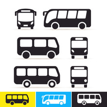 Set Of Bus Icon. Vector Illust...