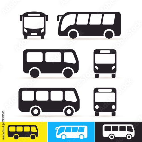 Set of bus icon Wallpaper Mural