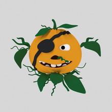 Pirate Pumpkin  Isolate. Eas...