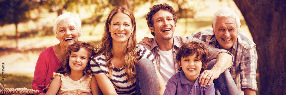 Fototapety, obrazy: Portrait of smiling family having picnic