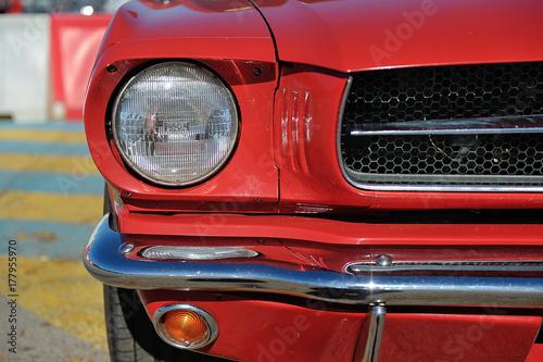 Fotografia, Obraz  American muscle car. Head light detail