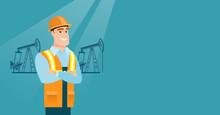 Caucasian Oil Worker In Unifor...