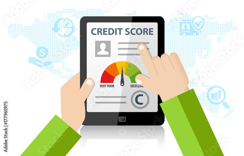 Fotografía Checking Credit Score Financial Report Online Rating Record on tablet