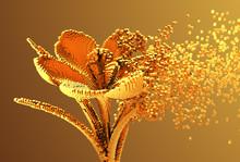 Gold Digital Flower Disintegrates To 3D Pixels