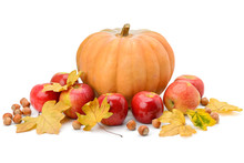 Pumpkin, Apples And Hazel Isol...