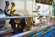 Technicians are turning lathe with horizontal lathe machine.