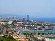 Aerial view of Port Vell in Barcelona, Spain