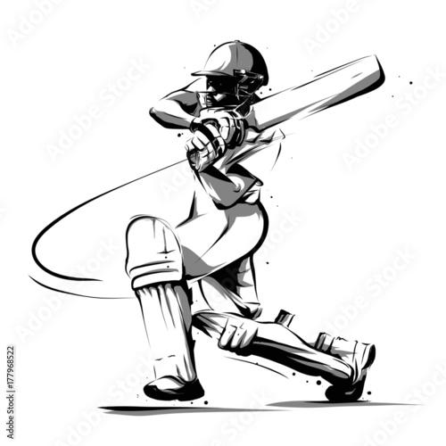 Stampa su Tela cricket player batsman batting side