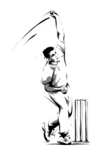 Cricket Player Bowling Ball Side