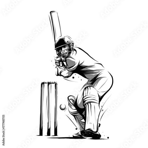 Cuadros en Lienzo cricket player batsman front