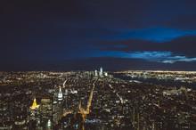 Aerial View Of Manhattan Skyline By Night