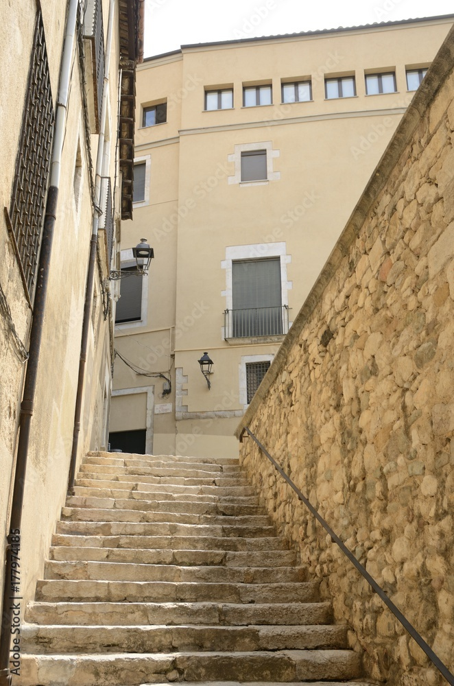 Stairs in alley  in Girona, Spain