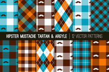 Hipster Mustache Tartan Plaid And Argyle Vector Patterns In Orange, Brown And Blue. Barbershop Style. Humorous Father's Day Backgrounds. Pattern Tile Swatches Included