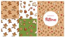 Gingerbread Cookies Seamless Pattern Set
