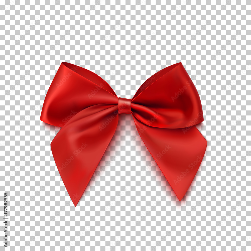 Fototapeta Realistic red bow isolated on transparent background.