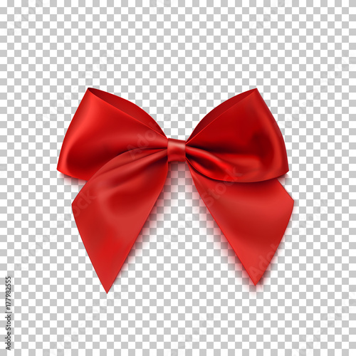 Fotografie, Obraz Realistic red bow isolated on transparent background.