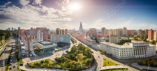 Obraz PYONGYANG,NORTH KOREA-OCTOBER 13,2017:Panorama of the city from the top point - fototapety do salonu