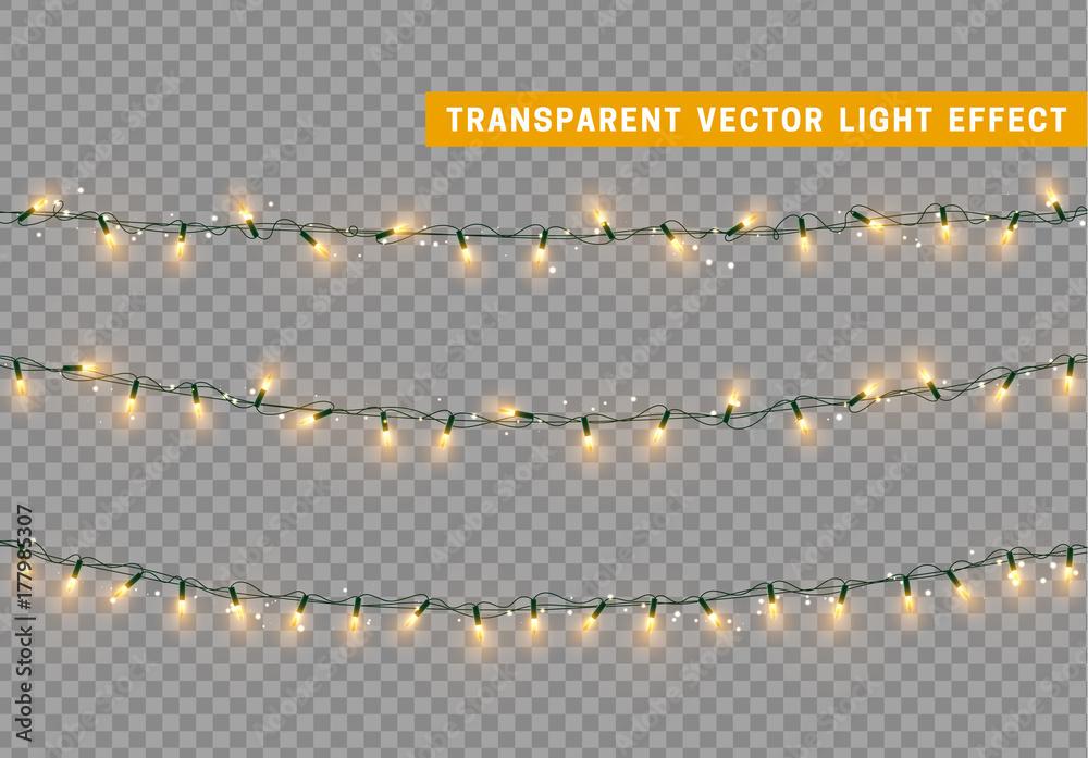 Fototapeta Christmas lights isolated realistic. Garland string.