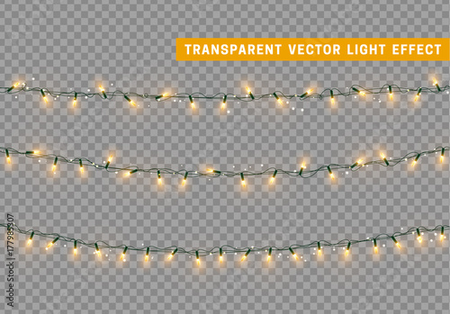 Stampa su Tela  Christmas lights isolated realistic. Garland string.