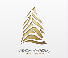 Christmas Background, Design Xmas Golden Tree Of Texture Paper