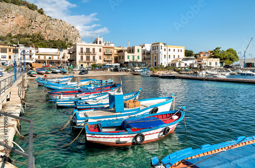 Foto auf Gartenposter Stadt am Wasser Small port with fishing boats in the center of Mondello, Palermo, Sicily