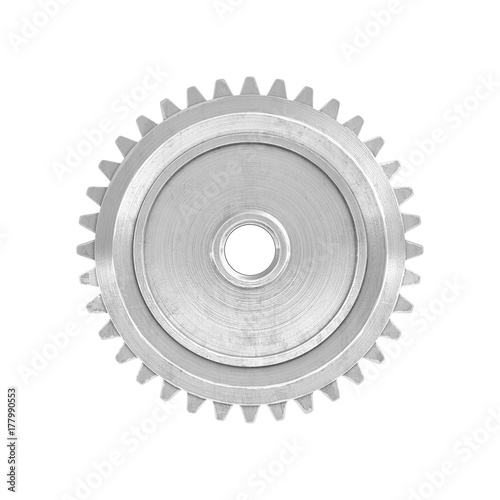 Photo  3d rendering of a single metal straight spur gear in side view isolated on a white background