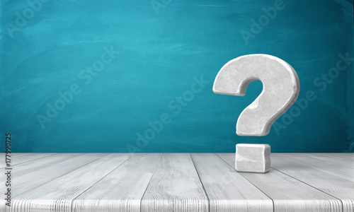 Fotomural  3d rendering of a grey-white question mark made of stone standing on a wooden table on blue background