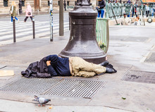 The Homeless Clochard Sleeps R...
