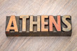 Athens word abstract in wood type