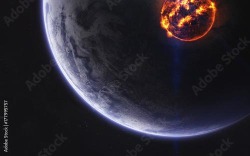 Fototapeta Niezbadane planety odległej przestrzeni. Obraz głębokiej przestrzeni, fantasy science-fiction w wysokiej rozdzielczości, idealny do tapet i druku. Elementy tego obrazu dostarczone przez NASA