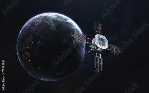 Fototapeta Ziemska orbita z satelitą. Połączenie internetowe. Komunikacja przyszłości. Elementy tego obrazu dostarczone przez NASA