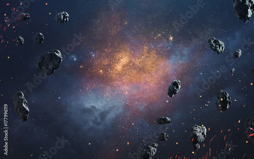 Fotografía Abstract cosmic background with asteroids and glowing stars