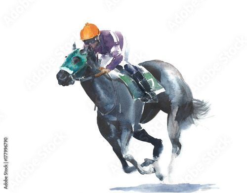 Fototapeta Horse racing jockey competition black horse watercolor painting illustration isolated on white background obraz