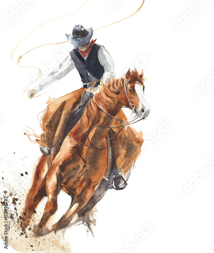 Cowboy riding a horse ride calf roping watercolor painting illustration isolated on white background Wall mural