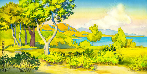 Fotobehang Geel Watercolor landscape. Sunny view of the coast