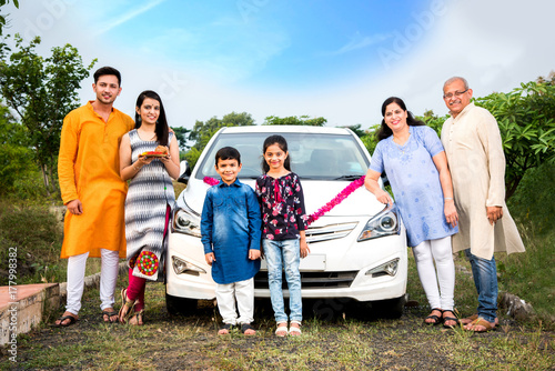 Indian Family Buying New Car Car Buying Or Automobile Boom Concept