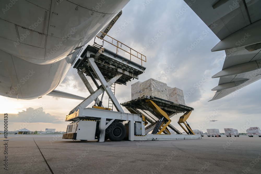 Fototapety, obrazy: Loading cargo plane outside air freight logistic