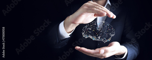 Fototapeta Businessman drawing digital  brain in screen obraz