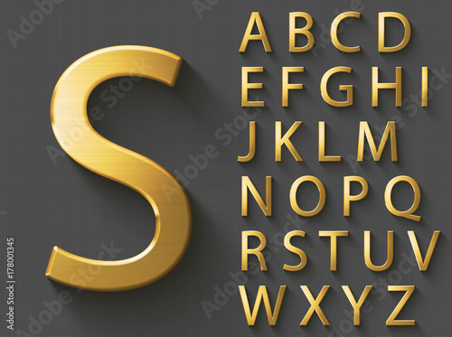 Golden luxury 3D alphabet: uppercase English letters Canvas Print