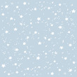 Hand made stars snow vector pattern. Happy New Year and christmas holidays blue background banner.