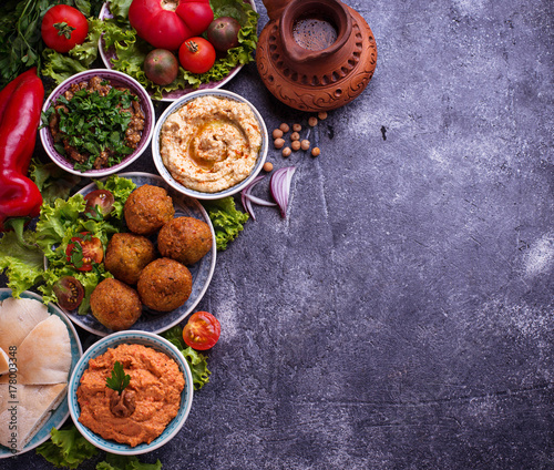 Fotografia  Selection of Middle eastern or Arabic dishes.