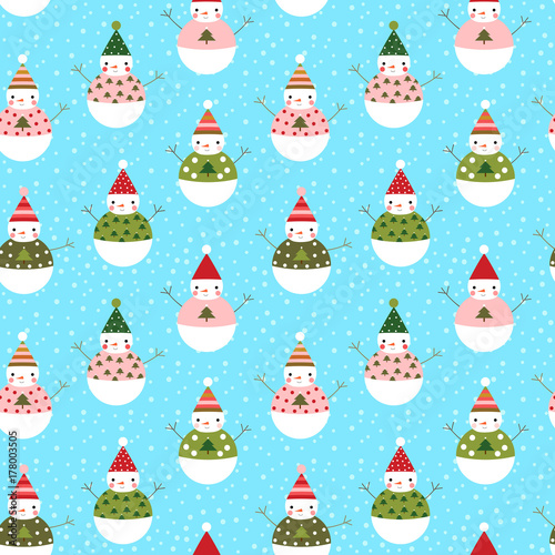 Cotton fabric Cute vector seamless pattern with snowmen with hats for winter and Christmas designs and wrapping paper