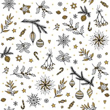 Hand Drawn Seamless Pattern With Various Ornamental Christmas Elements, In Black, White, Gold