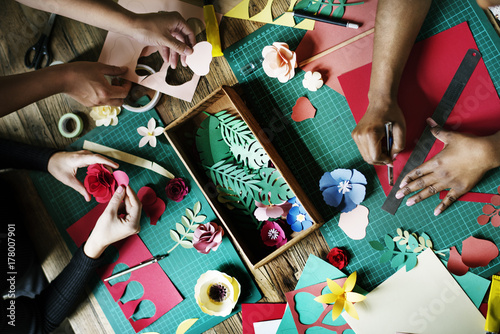 People Making Paper Flowers Craft Art Work Handicraft Fototapeta