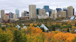 Edmonton, Canada city center with colorful aspen in foreground