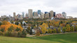 Edmonton, Canada cityscape with colorful aspen in foreground
