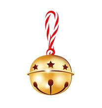 Weihnachtsschelle Mit Kordel Schleife Weihnachtsglöckchen Mit Hängeschleife  Weihnachtsdekoration Vektor Illustration Isoliert Auf Weißem Hintergrund