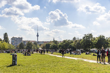 People Enjoy Sunny Sunday At Mauerpark In Berlin