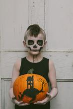 Little Boy With Skeleton Make ...
