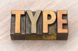 type word abstract in wood type